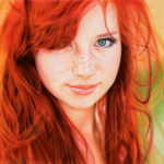 Redhead girl's portrait drawn with ballpoint pen